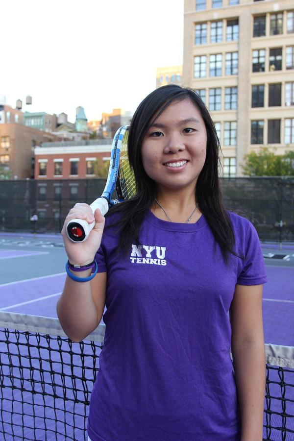 Women's Tennis player Carmen Lai won consecutive perfect sets to start off the Violets' first spring match.