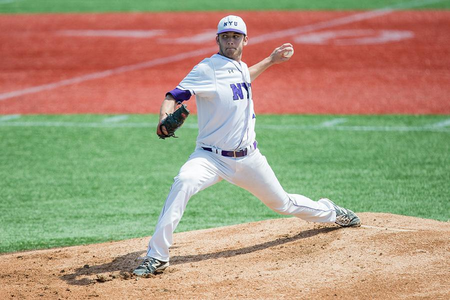 Pitcher Chase Denison during a game against the Bard Raptors at MCU Park in Brooklyn, NY on April 18, 2015.