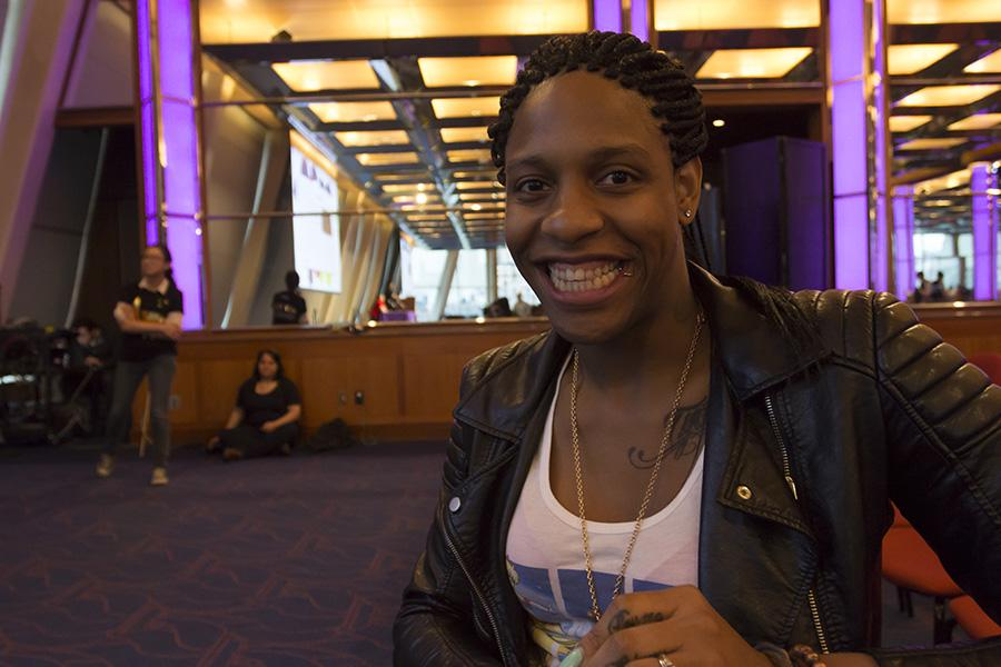 CeCe McDonald before speaking at NYU Ally Weeks event, Black Trans Lives Matter on Tuesday.