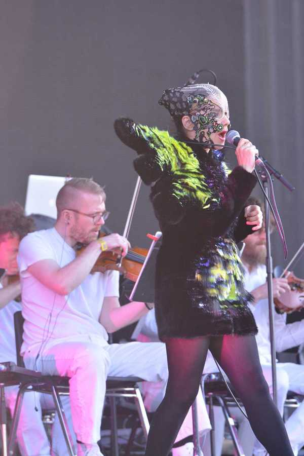 Bjork on the Governors Ball stage on Saturday.