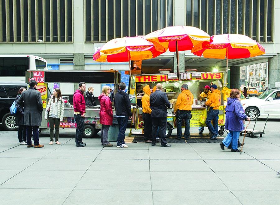 A Halal Guys cart near Rockefeller Center