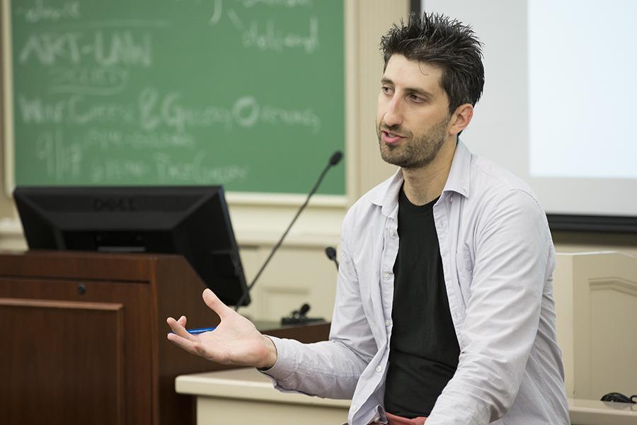 Andrew Gerst speaks at the NYU Brady Campaign Meeting in NYU Law's Vanderbilt Hall.