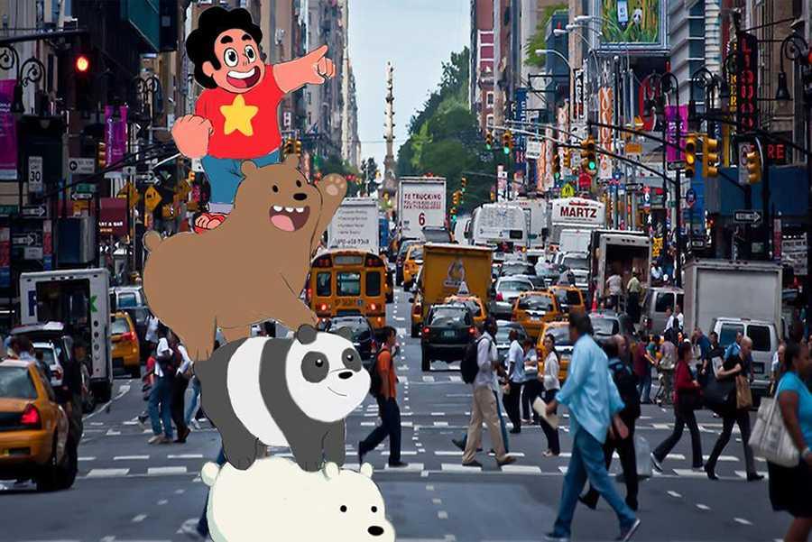 "Sang Bae's illustration of the cartoon ""We Bare Bears""."