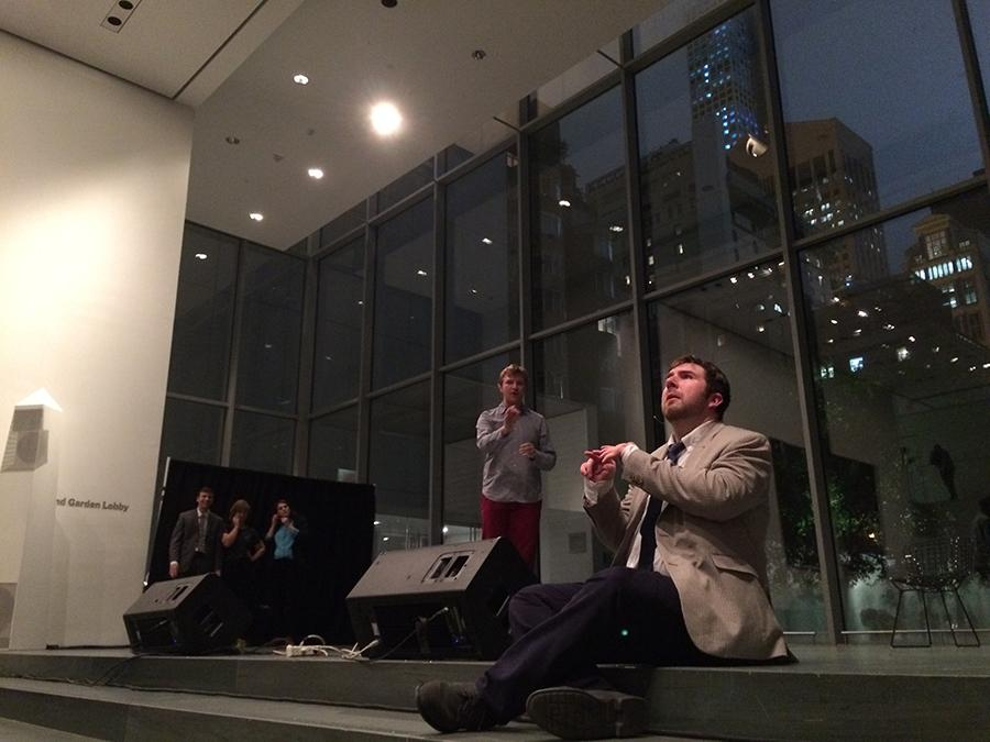 NYU comedy troupe performs at MoMA's Pop Rally event.