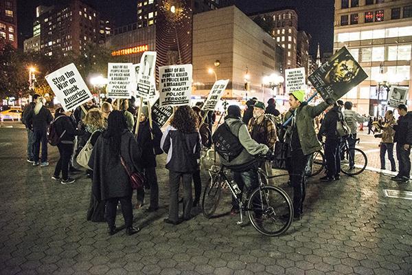 People gathered in Union Square in 2015 for one of the many rallies for Black Lives Matter that occurred regularly throughout the year. Tisch Professors Andromache Chalfant and Donyale Werle recently resigned in protest tied to the Black Lives Matter movement, citing a lack of diversity within their department. (Photo by Christian Forte)
