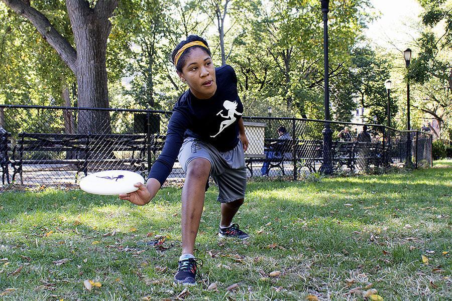 Junior Kiyomi Taylor is part of the Violet Femmes,  NYU's women's frisbee team.