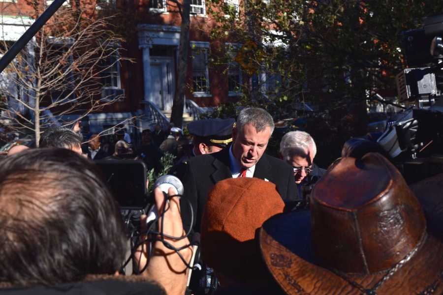 New York City Mayor Bill de Blasio speaks with the media about standing in solidarity with Paris and plans to increase NYPD presence throughout NYC.