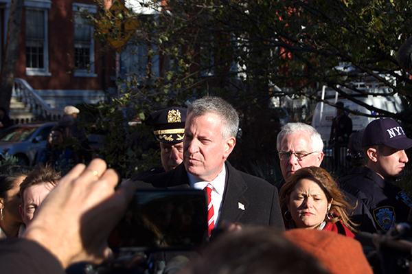 Mayor Bill De Blasio spoke at a rally for solidarity with the victims of the Paris terrorist attacks on Nov. 14.