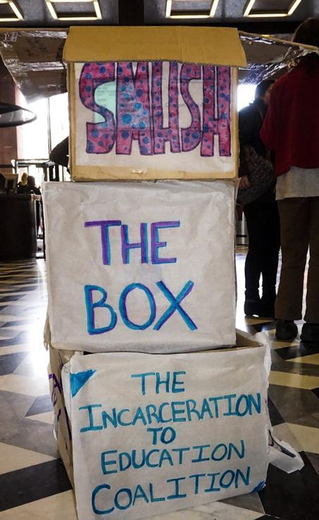 NYU students rallied in the Bobst Lobby to show their support for banning the box on the Common Application.