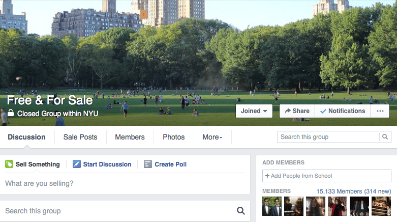 The NYU Free & For Sale page has attracted students looking to buy and sell personal goods.