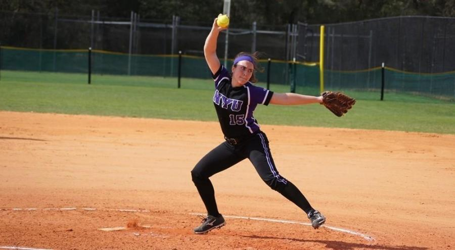 Karissa Zubulake pitched excellently for the NYU Women's Softball team's win against Rutgers-Newark.