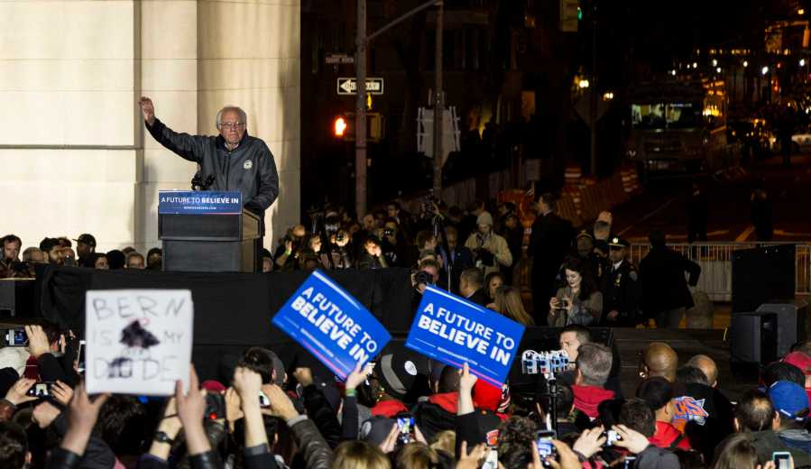 Senator+Bernie+Sanders+spoke+for+90+minutes+at+the+rally+last+Wednesday+in+Washington+Square+Park.