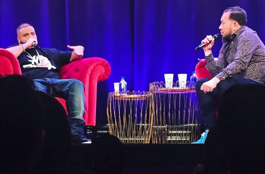 DJ+Khaled+and+Elliott+Wilson+spoke+at+the+Skirball+Center+on+April+19+as+part+of+the+Clive+Davis+Institute+of+Recorded+Music%27s+CRWN+interview+series.+