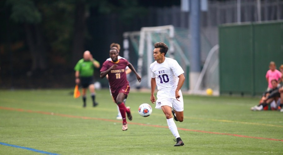 At the NYU-NJCU match, Tristan Medios-Simon scored all three goals for his team, bringing NYU up to a tie with NJCU.