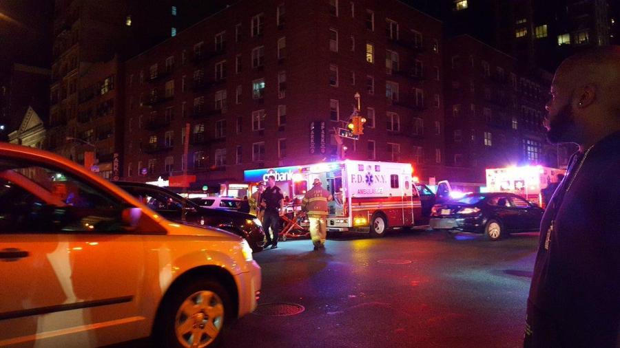 Emergency vehicles respond to an explosion in Chelsea, shutting down the surrounding two-block area.