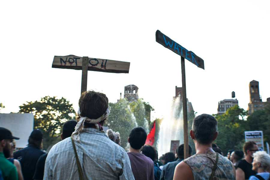Last Friday, a large crowd gathered in Washington Square Park to rally against the the Dakota Access Pipeline that would endanger the Standing Rock Sioux Tribe in North Dakota.