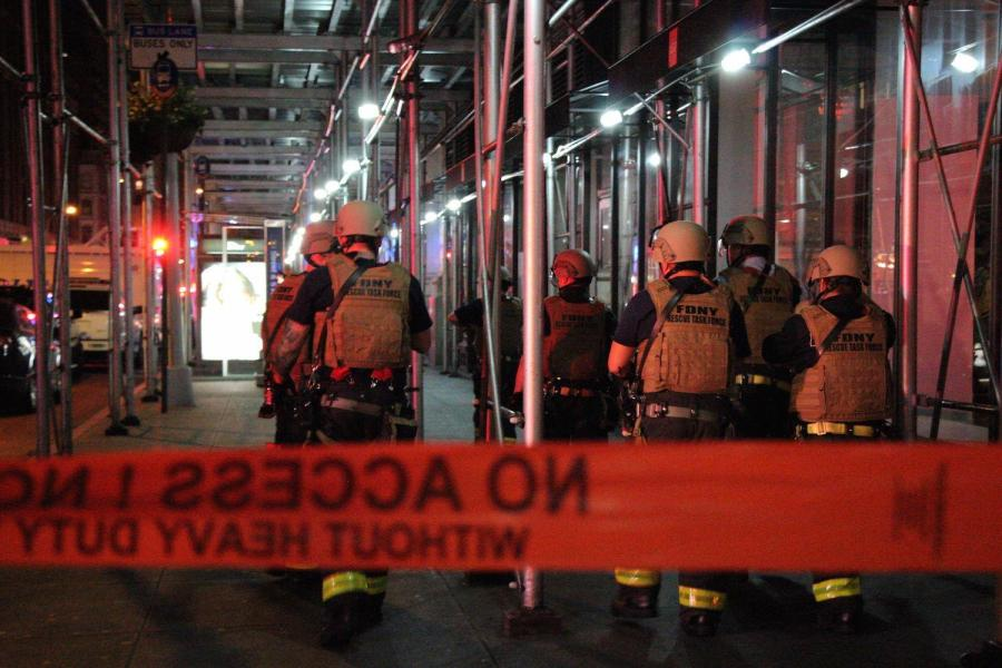 The FDNY Rescue Task Force responds to an explosion in Chelsea which down the surrounding two-block area.