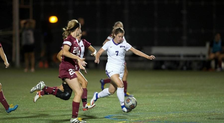 NYU women's soccer came from behind and won against Ramapo with a score of 3-2.