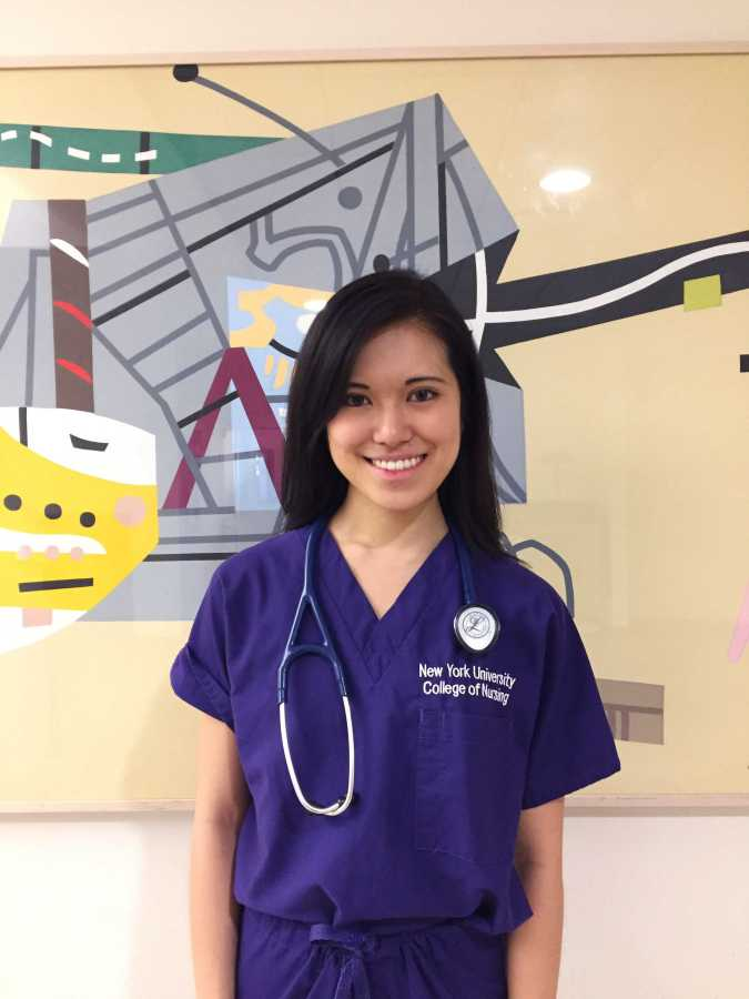 NYU's College of Nursing student, Nicole Hayashi, interns at the NYU Hospital.