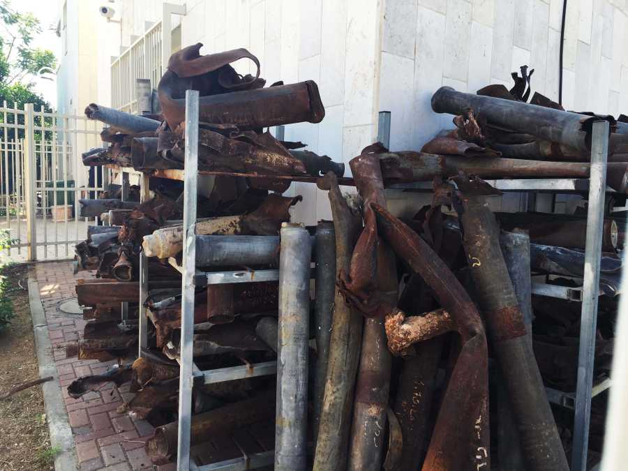 Stack of rocket shells destroyed by the Iron Dome