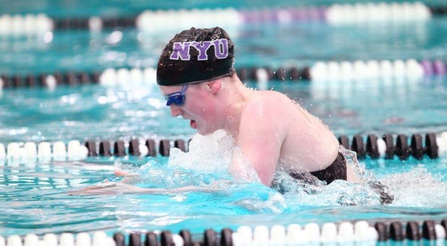 Elise Gibbs helped maintain the NYU women's swimming team's undefeated status on Sunday.