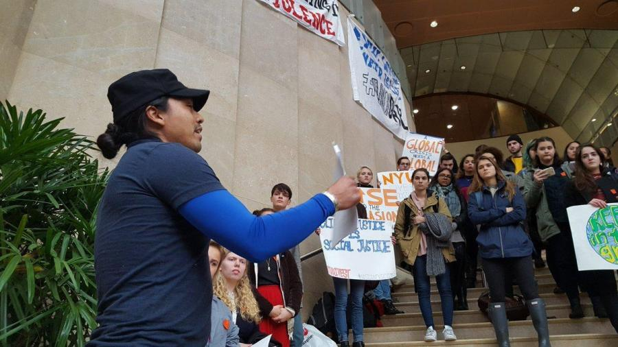 Students stood on the steps of Kimmel on Tuesday to show their support for the No Dakota Access Pipeline Movement.