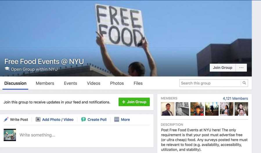 Not sure where to start? The Free Food Events @ NYU Facebook page is a peer-sourced collection of coupons, deals, and events that will guarantee you a free dinner
