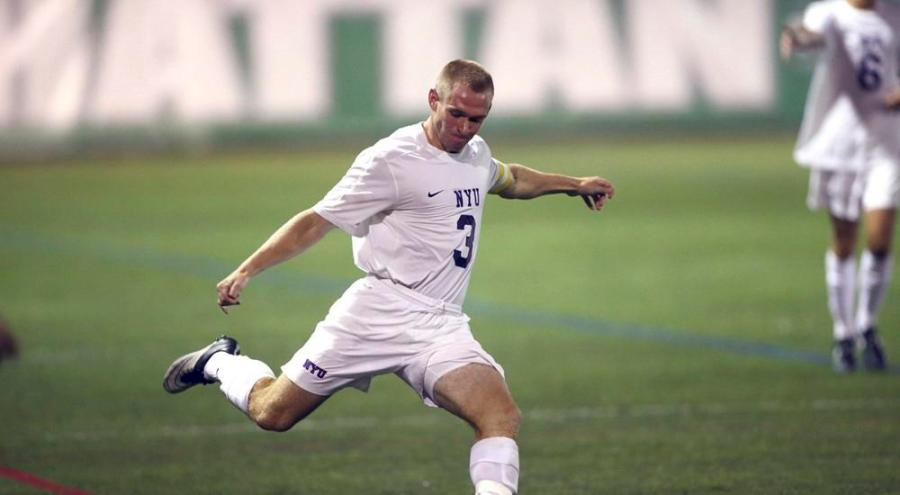 Midfielder, Bryan Walsh, scored the lone goal for NYU in the team's final game of the season.