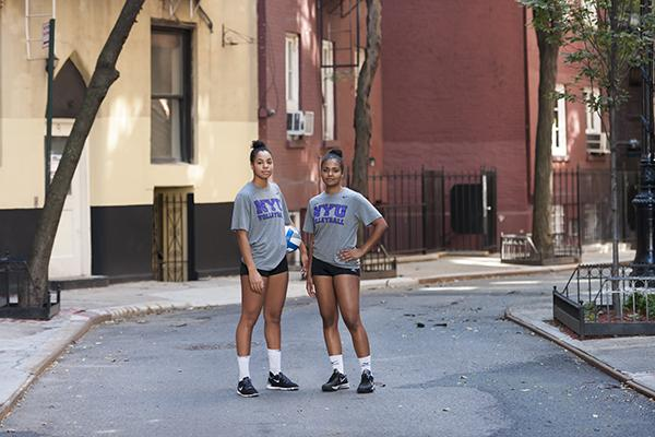 A total of 49 NYU athletes received the UAA All-Academic team honor this year, including women's volleyball player Rayne Ellis, pictured above (left).