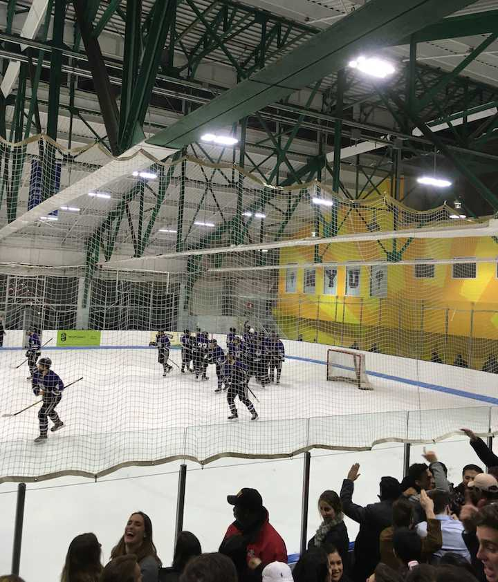The+NYU+Hockey+Team+playing+at+their+home+ground+of+Chelsea+Piers%2C+Friday%2C+Feb.+10%2C+2017.+The+game+saw+the+Violets+experience+their+first+loss+of+the+year%2C+against+Sacred+Heart+University.