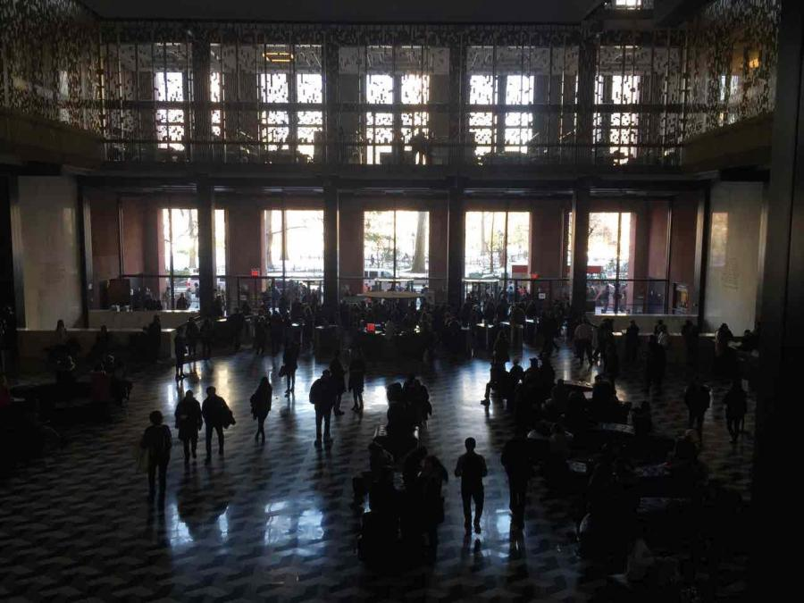 Elmer Holmes Bobst library in darkness following a power outage on Tuesday 14th, February 2017.