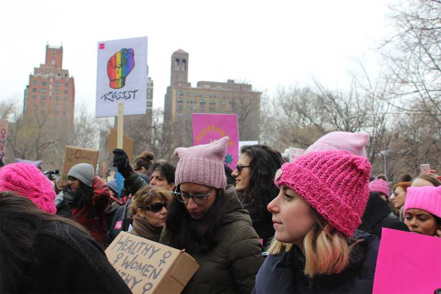 Women donned pink pussy hats today for a pro-Planned Parenthood rally in Washington Square Park.