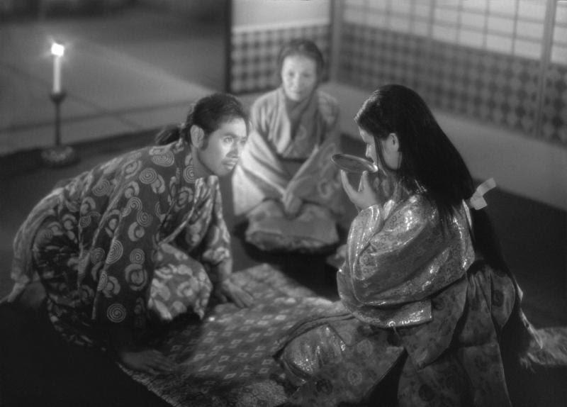 "Masayuki Mori and Machiko Kyô as the potter Genjuro and his client Lady Wakasa, in the ghost film ""Ugetsu,"" by Japanese director Kenji Mizugochi."