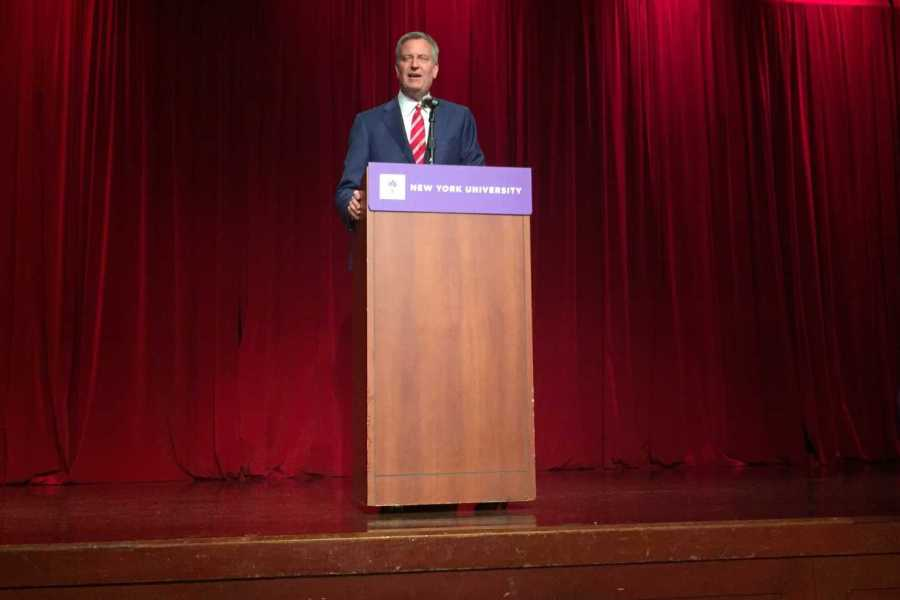 """Bill De Blasio speaks at the NYU College Democrats' """"NYC Youth Rise Up Panel"""" in the Kimmel Center for University Life, April 26."""