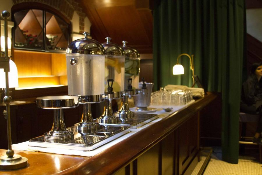18 Below is a new dining hall underneath Torch Club with fancy features such as a flavored water station.