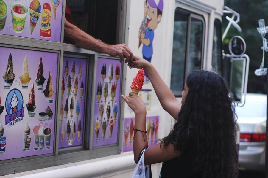 Ice cream trucks can be found on any side of Washington Square Park on any day that the weather isn't gloomy.