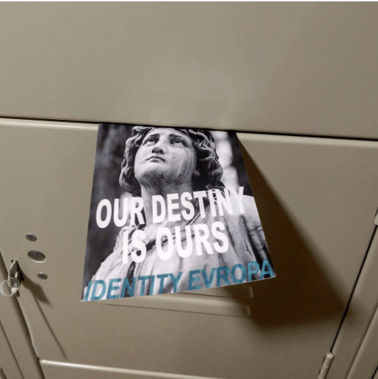 Photographs of the Identity Evropa flyers in the lockers outside of the Marketplace at Kimmel