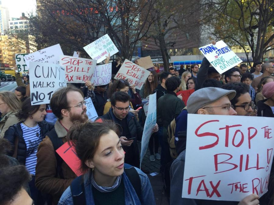 Graduate and Ph.D. students gathered in Union Square on Nov. 27 to protest the proposed GOP tax reform bill.
