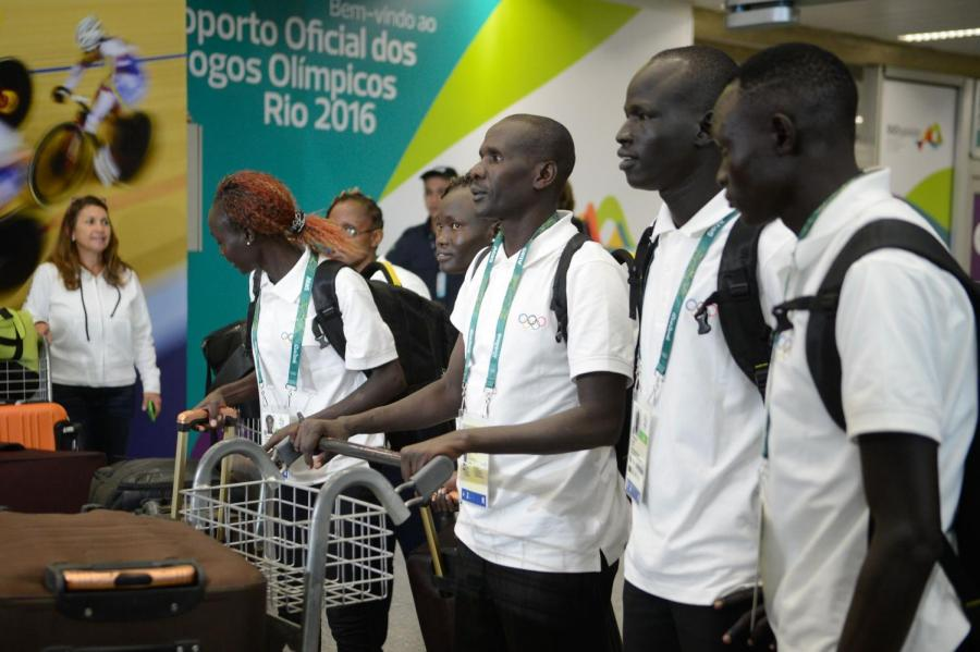 Members of the Refugee Olympic Team in Rio before the games began for the Summer Olympics in 2016.