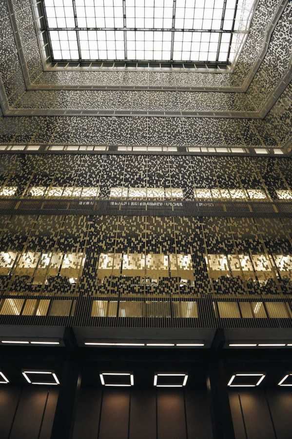 The aluminum  panels that line the corridors of Bobst Library.