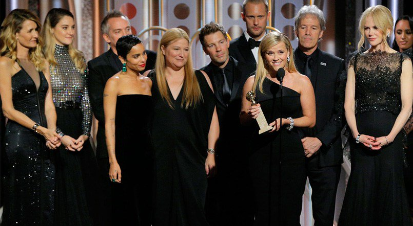 The cast of 'Big Little Lies' accepts the Golden Globe Award for Best Miniseries on Jan. 7, 2018. Stars wore black in support of the 'Time's Up' and #MeToo movements.