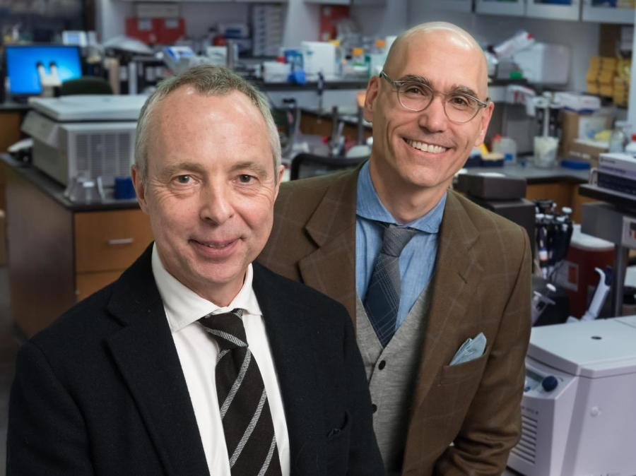 Dr. Schmidt, professor of Oral and Maxillofacial Surgery at NYU (right), and Dr. Bunnett, professor in the Department of Surgery and Pharmacology at Columbia University (left).