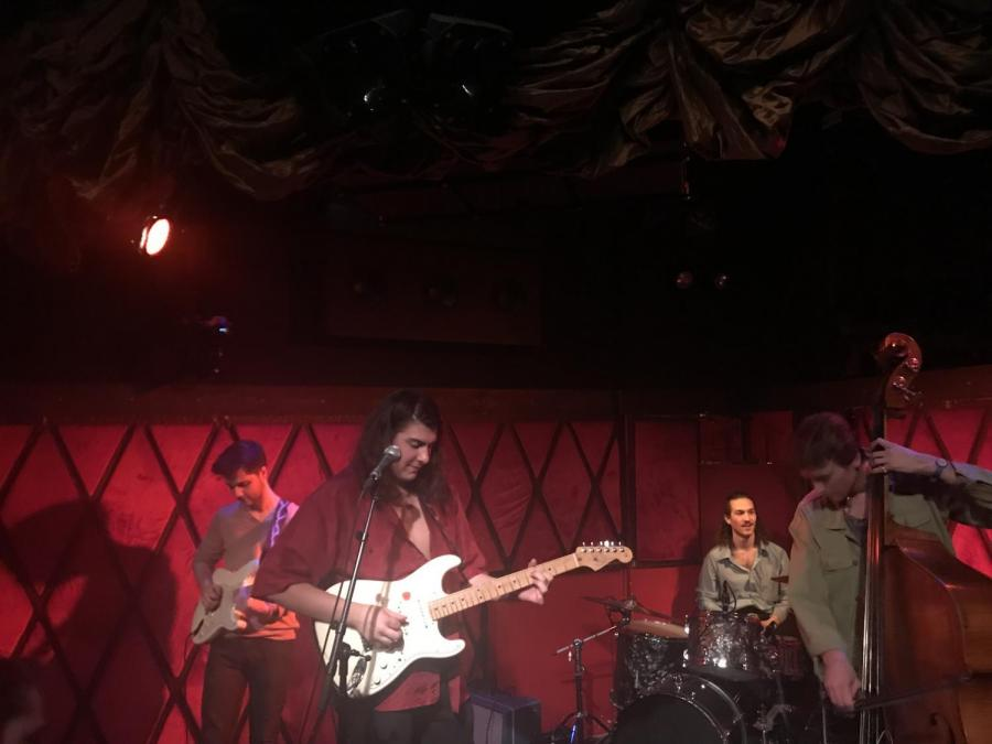 The Misters, a band comprised of all NYU students, performed at Rockwood Music Hall on Feb. 3. Michael Knitting (center), a Steinhardt senior in the Music Business program; Brent Crude (right), a CAS alumnus; Todd Martin, a sophomore in Music Business (right center) and Jim White, an NYU Music Business alumnus (left).