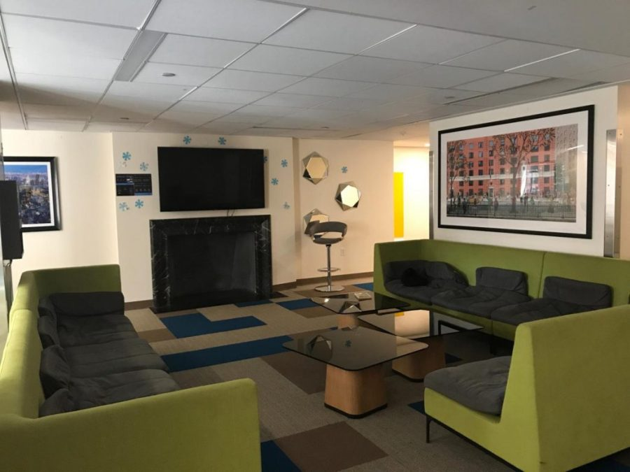The second floor lounge in Lipton Residence Hall.