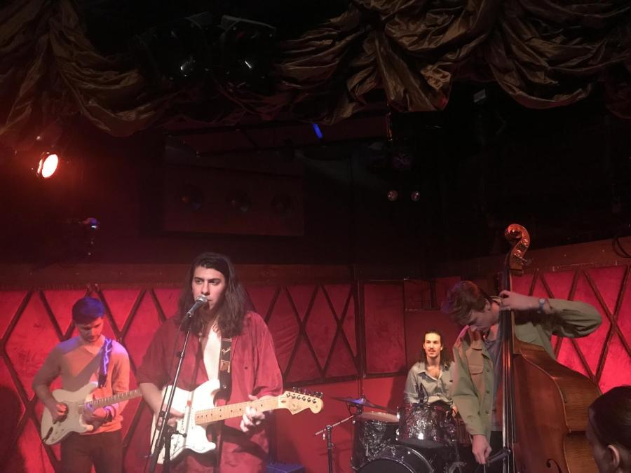 The+Misters%2C+a+band+comprised+of+all+NYU+students%2C+performed+at+Rockwood+Music+Hall+on+Feb.+3.+Michael+Knitting+%28center%29%2C+a+Steinhardt+senior+in+the+Music+Business+program%3B+Brent+Crude+%28right%29%2C+a+CAS+alumnus%3B+Todd+Martin%2C+a+sophomore+in+Music+Business+%28right+center%29+and+Jim+White%2C+an+NYU+Music+Business+alumnus+%28left%29.