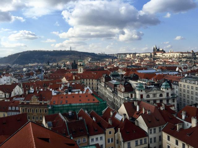 The skyline of Prague.