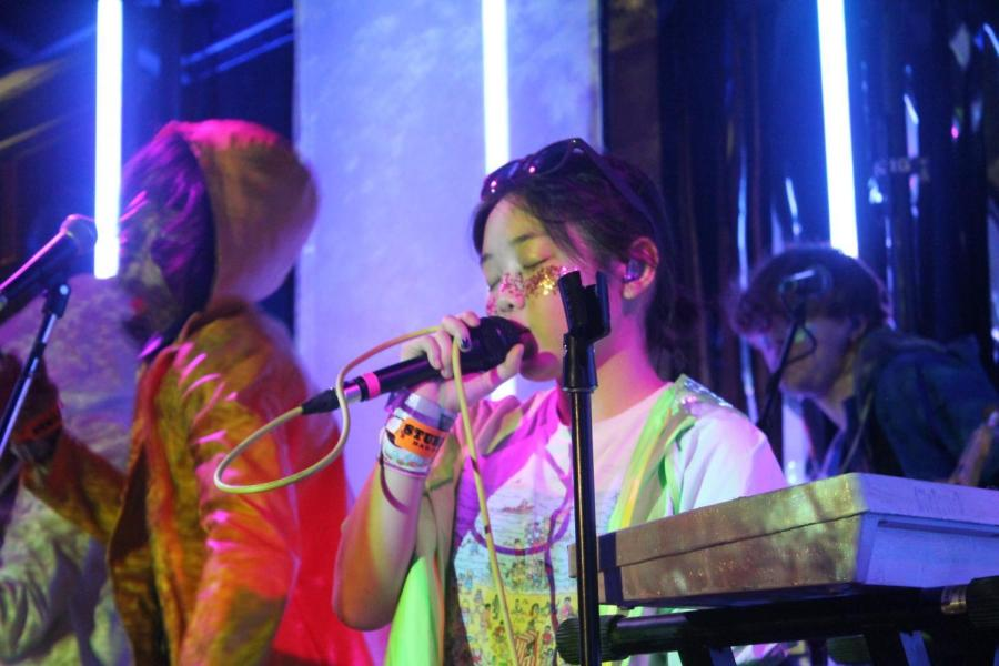 Orono Noguchi (right) and Soul (left) of the band Superorganism playing at Barracuda for the Paramount Network x Pitchfork Day Party at SXSW 2018 Music Festival.