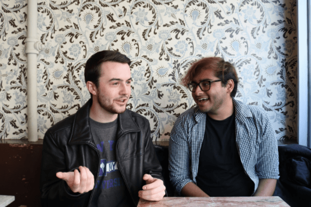 """""""Professor Quotes Without Context"""" co-founders Peter Ferrarese and Nick Sawhney discuss the conception of their popular Facebook page in Think Coffee on Fourth Avenue."""