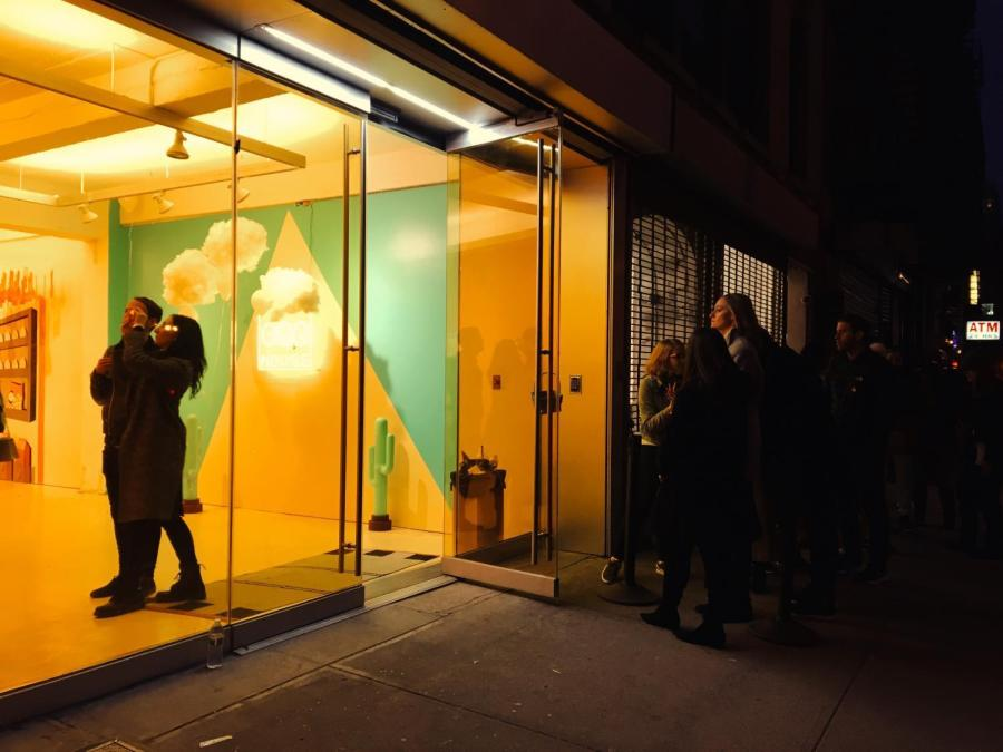 The Egg House's promising warm glow draws a large crowd to its doorstep.