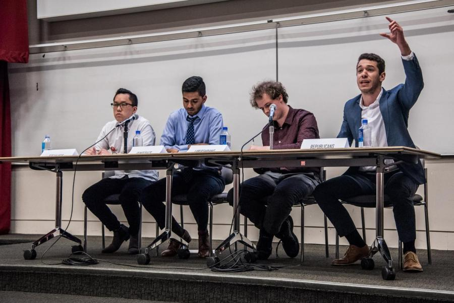 NYU DSA, College Democrats, College Libertarians and College Republicans at their semesterly interclub debate on April 18. The groups debated internet privacy and tariffs, and the back-and-forth grew more contentious as the evening progressed.